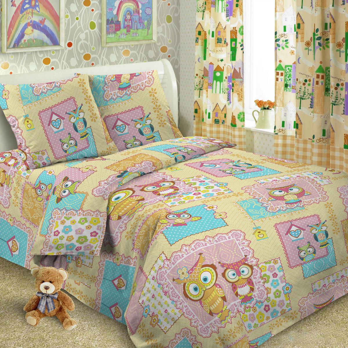 Комплект постельного белья детский Letto Сова Розовый<br>