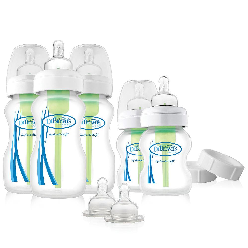 Набор бутылочек Dr. Brown&amp;#039;s Options с широким горлышком (три - 270 мл, две - 150 мл, две соски с 3 мес, две крышки, три ёршика для вентиляционной системы)<br>