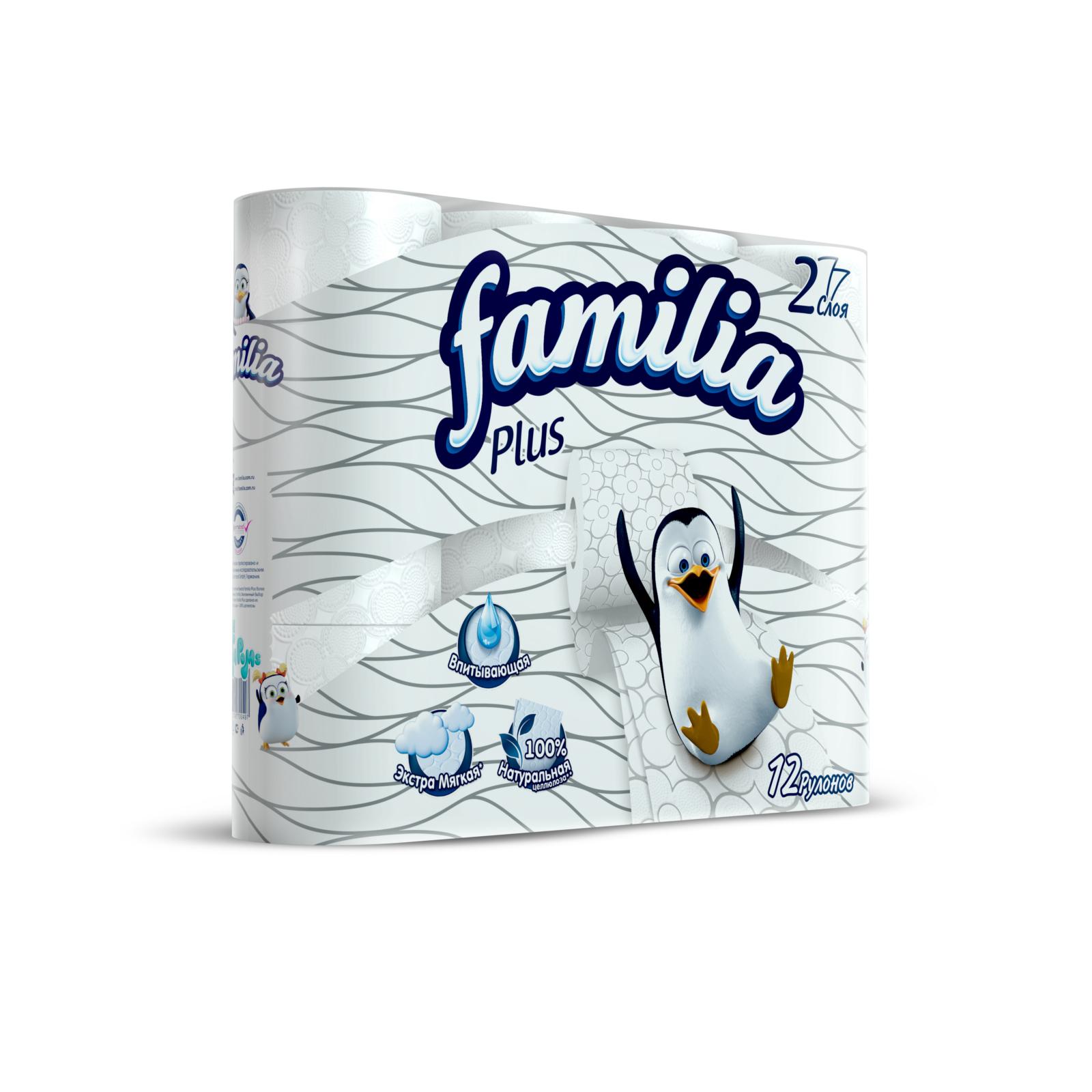Туалетная бумага Familia Plus белая (2 слоя) 12 шт<br>