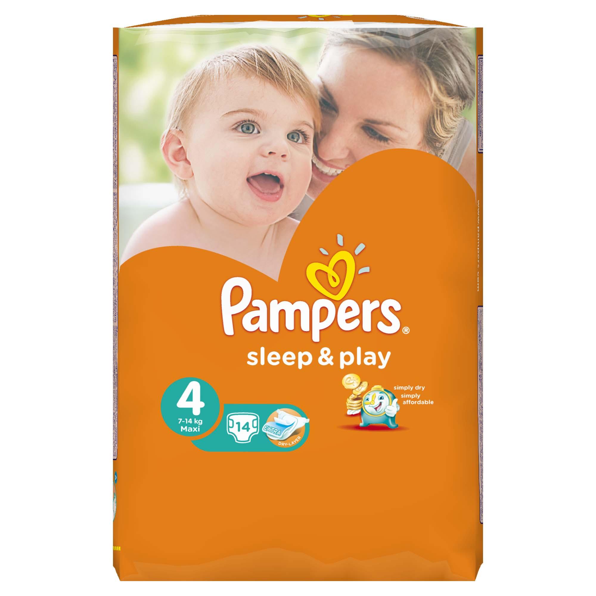 Подгузники Pampers Sleep&amp;amp;Play Maxi 7-14 кг (14 шт) Размер 4<br>