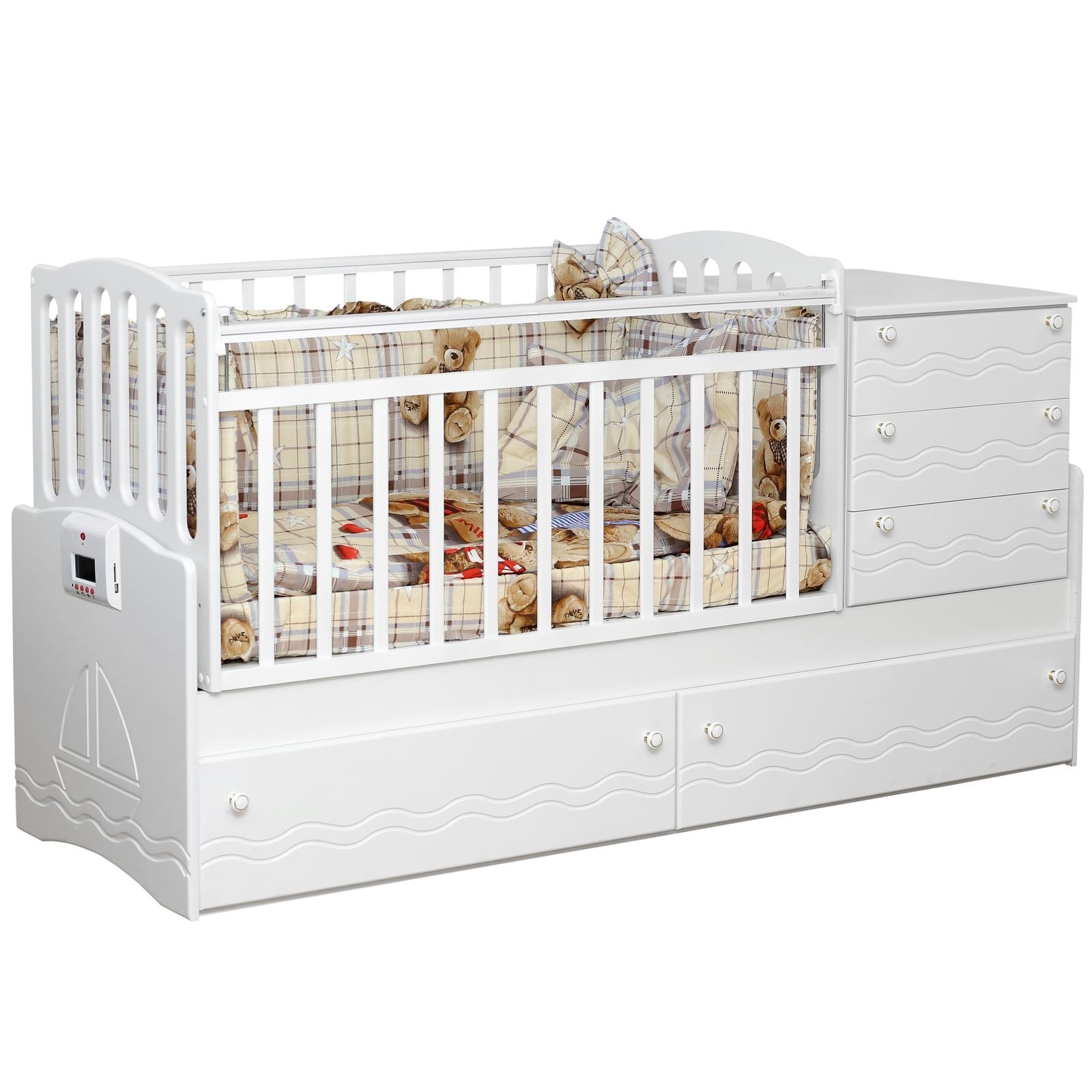 Кроватка-трансформер Daka Baby Укачай-ка 05 с механизмом Белый<br>