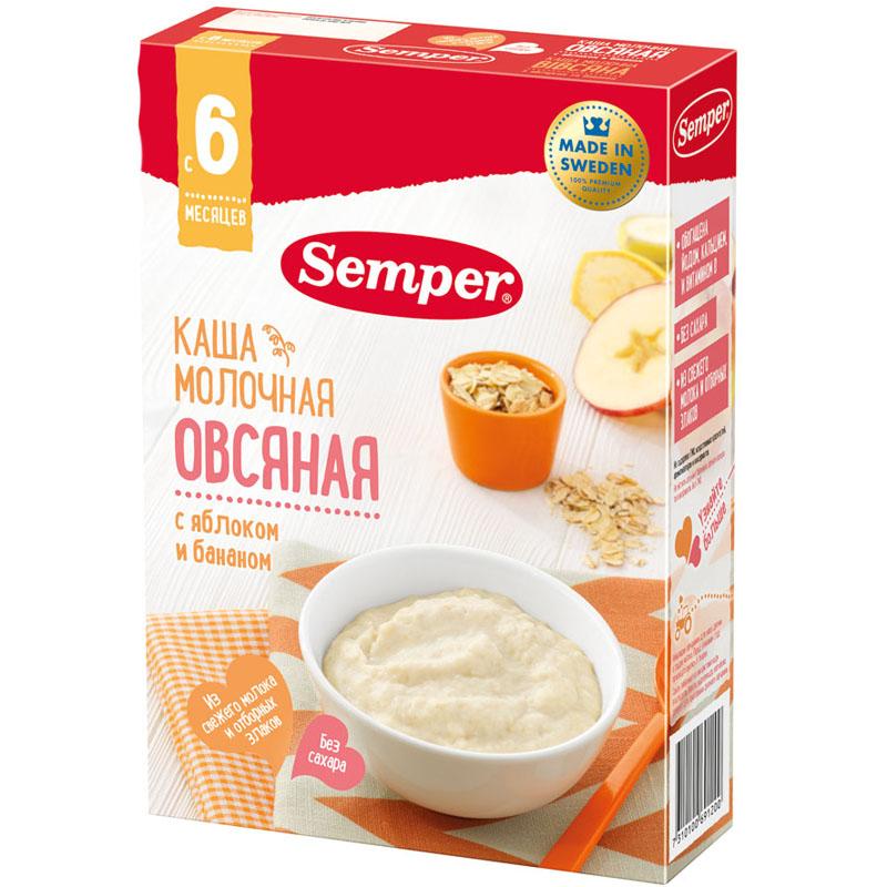 Каша Semper молочная 200 гр Овсяная с яблоком и бананом (с 6 мес)<br>