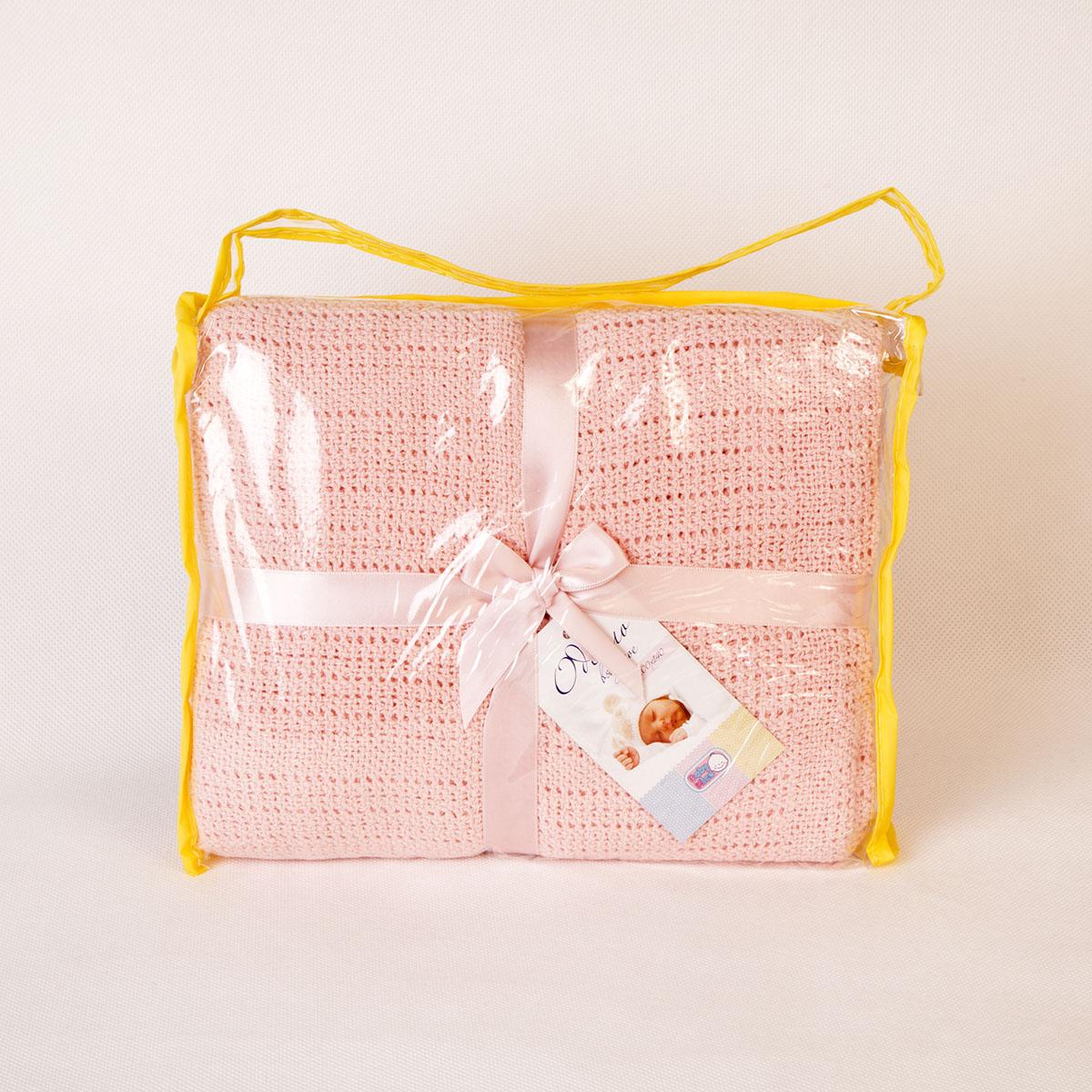 Одеяло Baby Nice детское вязанное 90х120 В ассортименте (голубой, розовый, желтый) (Baby nice)