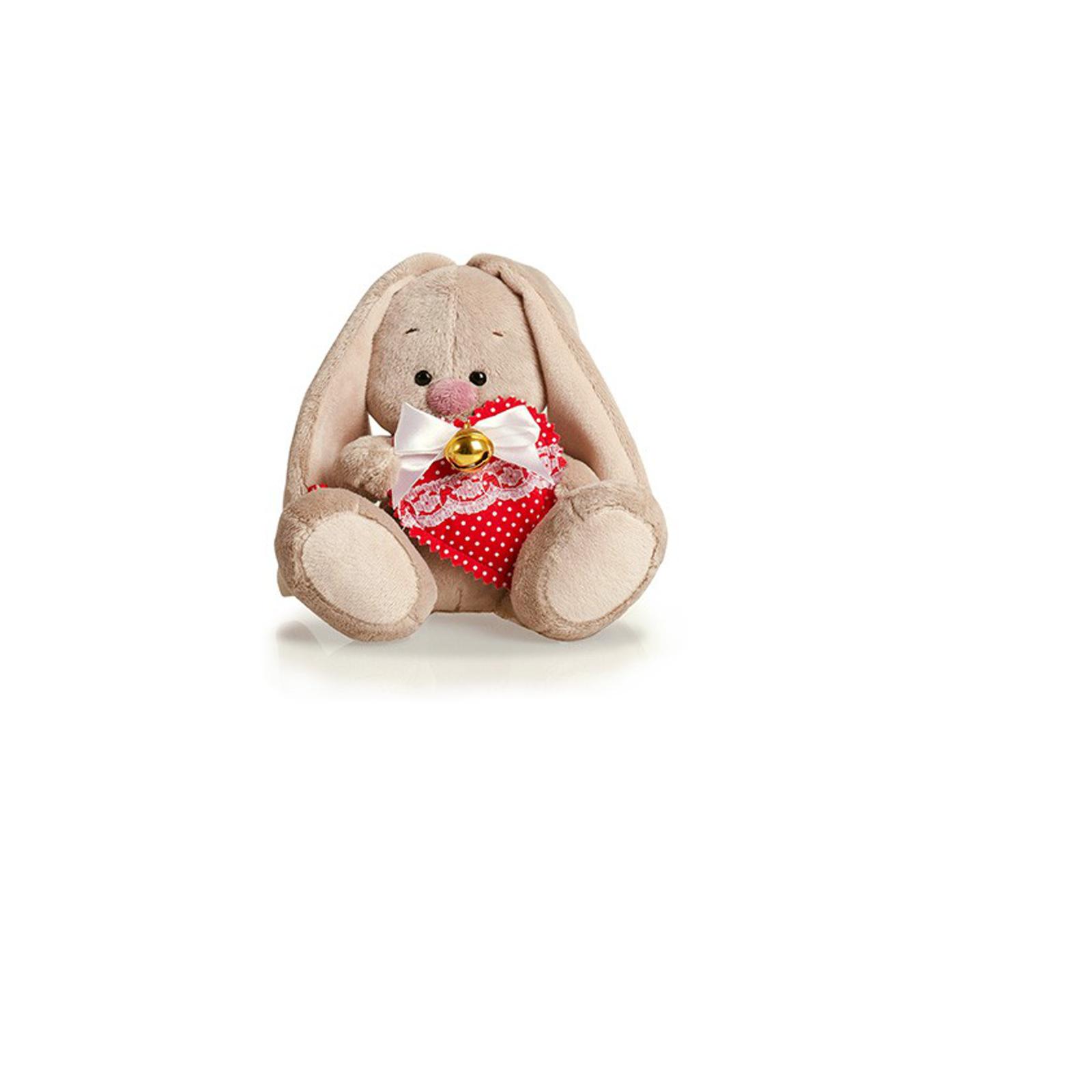 Мягкая игрушка Зайка Ми с сердцем и бубенчиком 15 см