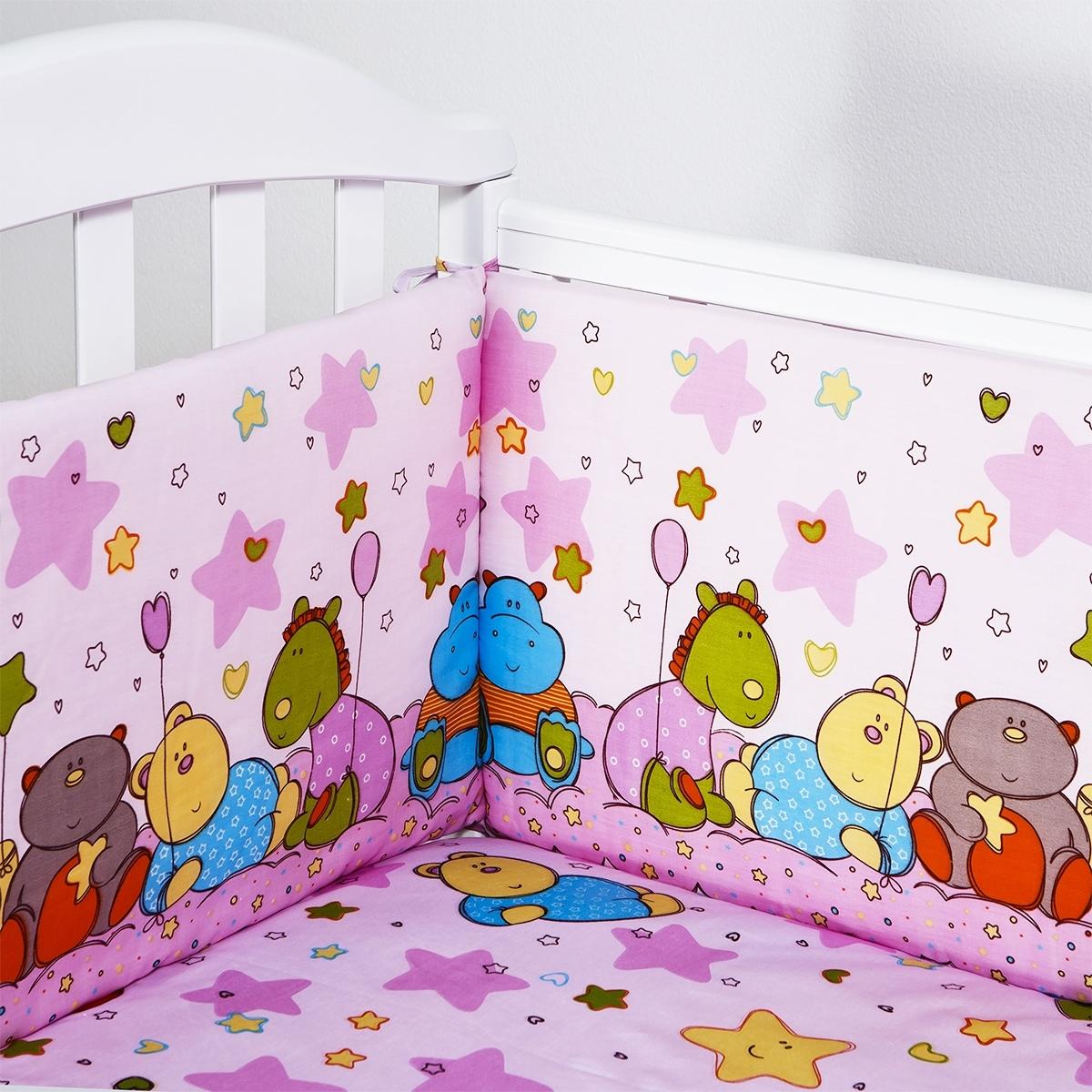 Борт в кроватку Споки Ноки Звездопад (розовый, желтый, голубой)
