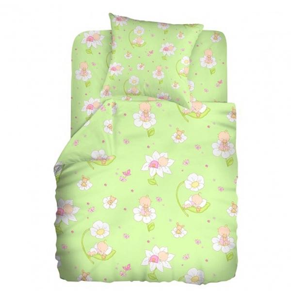 Комплект постельного белья детский бязь Непоседа Кошки-мышки Малыши Салатовый<br>