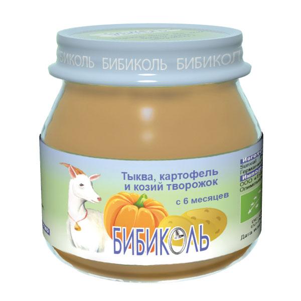 Пюре Бибиколь органическое овоще-молочное 80 гр Тыква картофель и козий творожок<br>