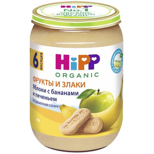 Пюре Hipp фруктовое с печеньем 190 гр Яблоки с бананом и печеньем (с 6 мес)<br>