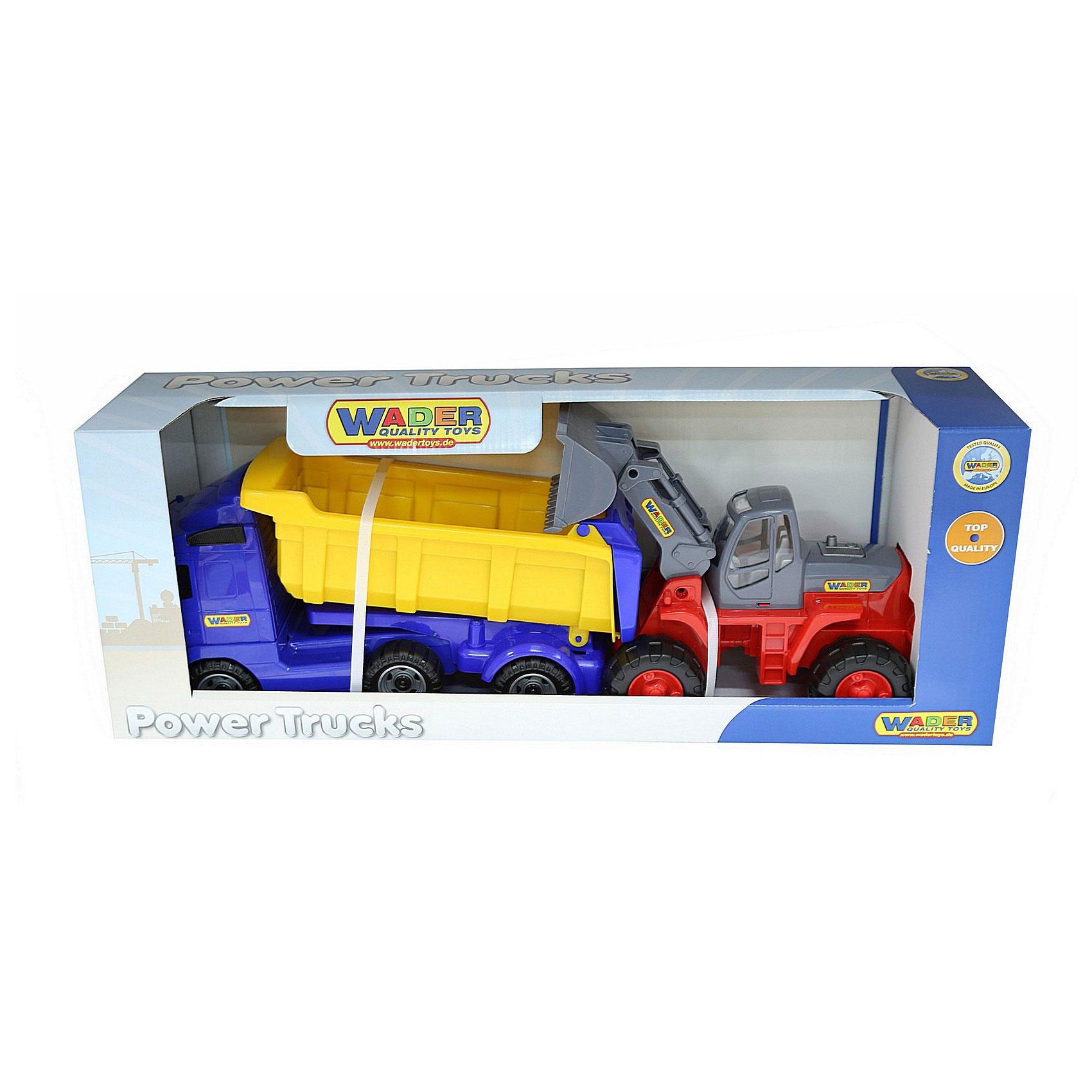 Автомобиль-самосвал Wader С полуприцепом трактор-погрузчик в коробке 0384<br>