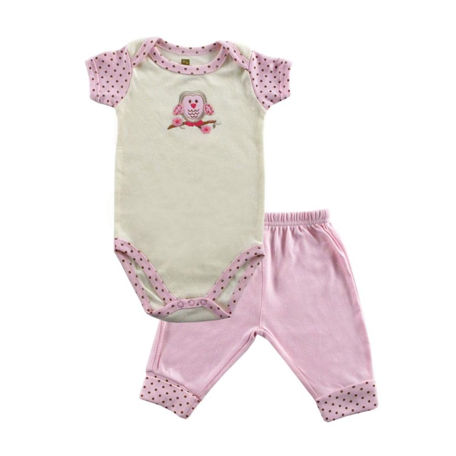 Комплект Hudson Baby Боди короткий рукав и штанишки Органик, 2 пр., цвет розовый 0-3 мес. (61-67 см.)