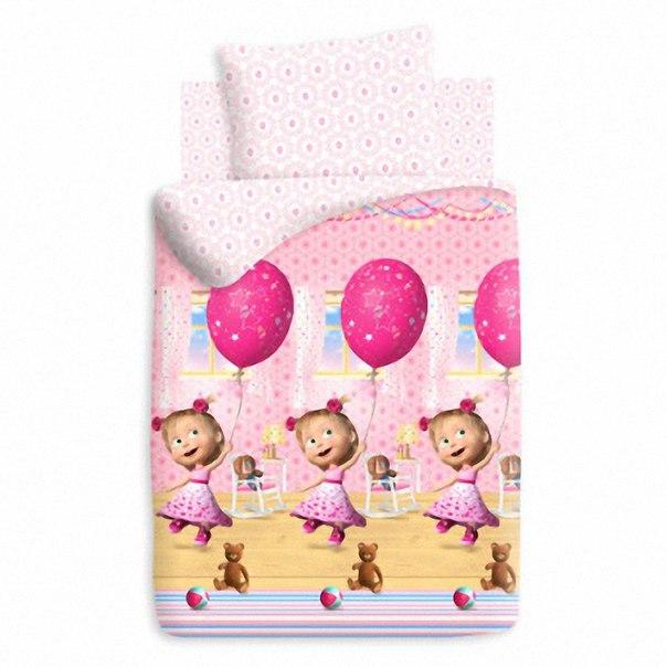 Комплект постельного белья детский бязь Непоседа Маша и Медведь День рождения<br>