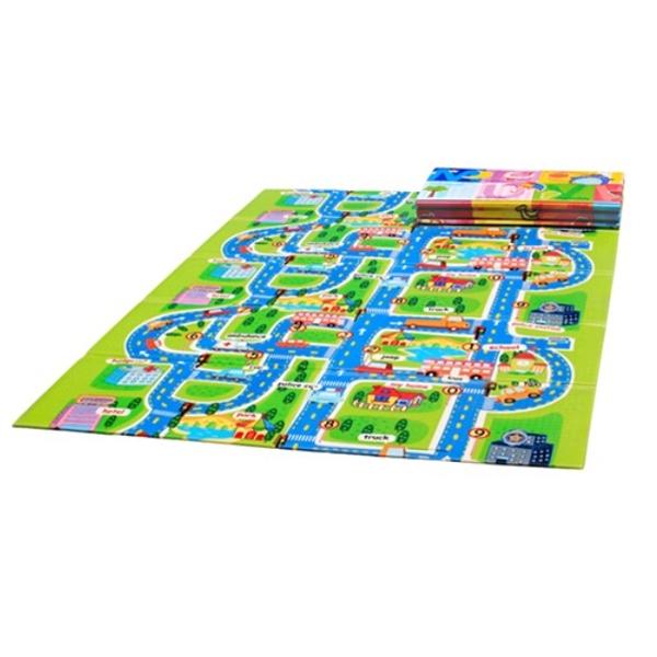 Детский развивающий коврик Mambobaby Город - Книжка 200х150х1<br>