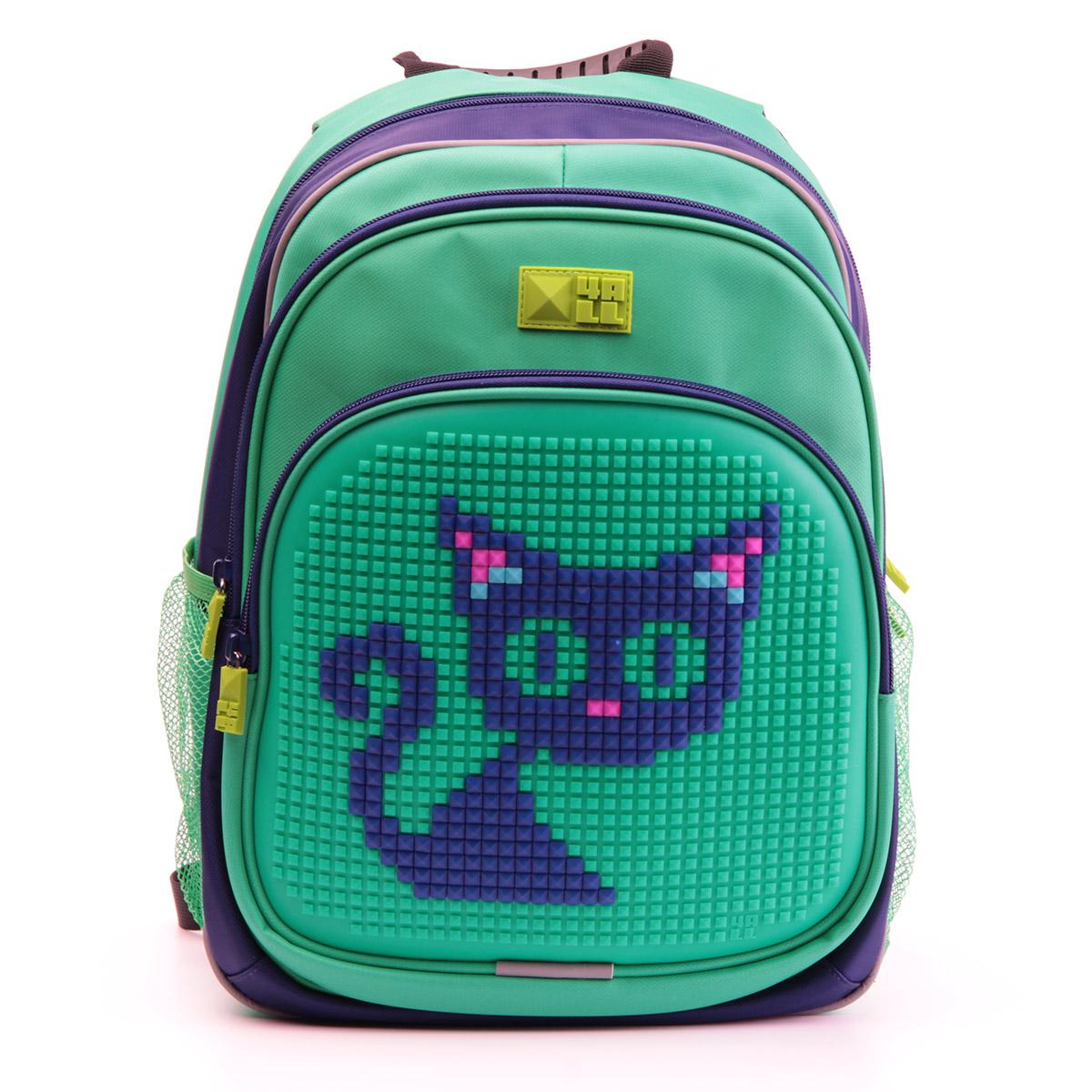 Рюкзак детский 4all KIDS Синий кот Темно-синий/ Зеленый + Пиксели<br>