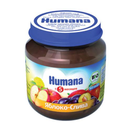 Пюре Humana фруктовое 125 гр Яблоко со сливой (с 5 мес)<br>