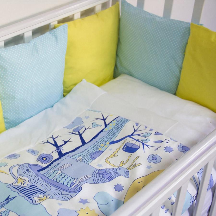 Комплект в кроватку ByTwinz с бортиками-подушками 6 предметов Северное сияние<br>