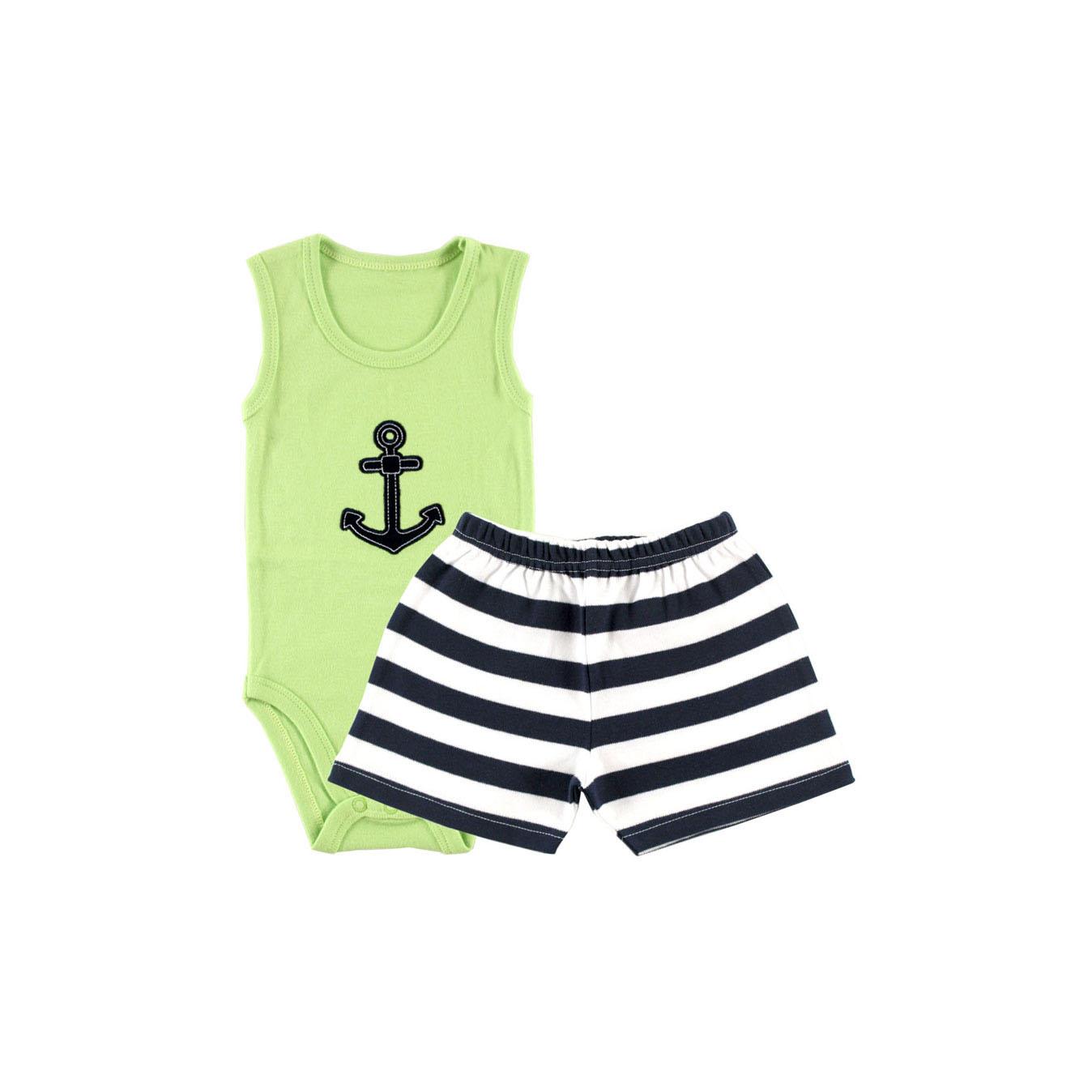Комплект Hudson Baby Боди-майка и шорты Якорь, 2 пр., для мальчика, цвет зеленый 3-6 мес. (61-67 см)
