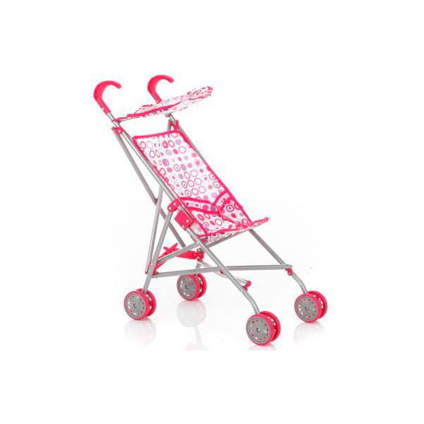 Кукольная коляска трость RT 9302S с козырьком металлическая Розовые круги на белом<br>