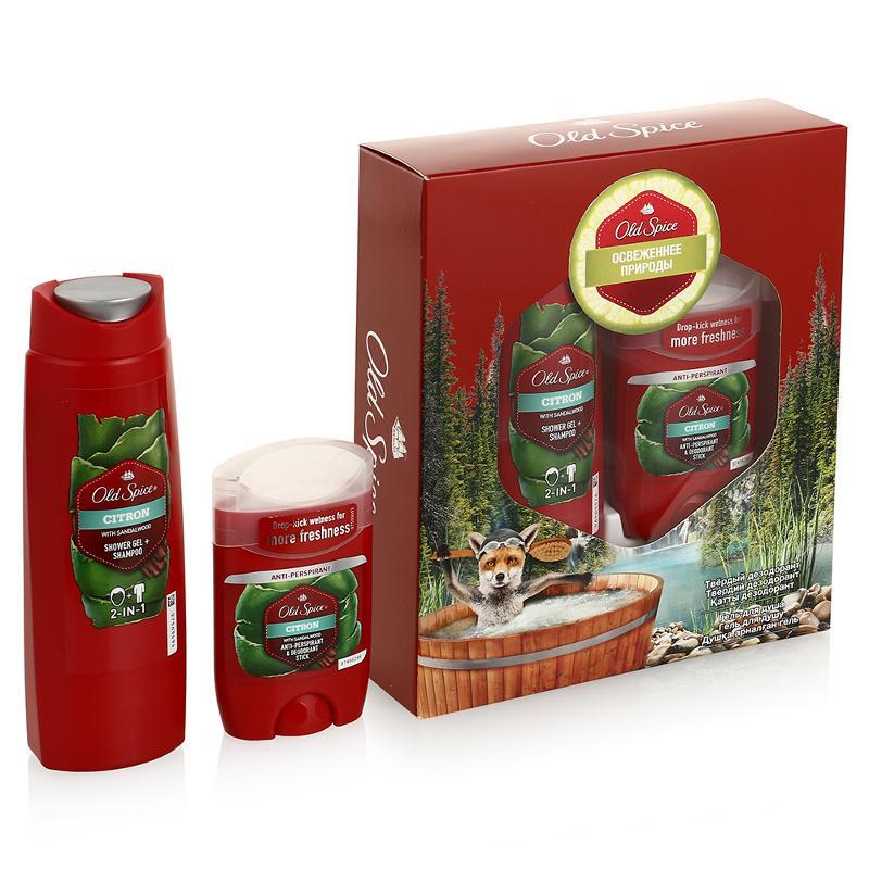 Подарочный набор Оld Spice Аэрозольный дезодорант-антиперсперант Citron 125 мл + гель для душа+шампунь 2в1 Citron 250 мл<br>
