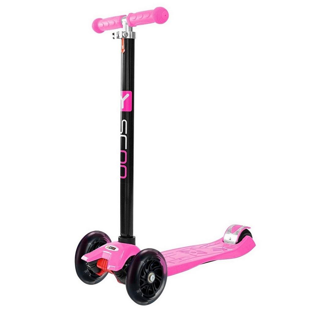 Самокат Y-SCOO maxi A-20 Shine со светящими колесами Pink<br>