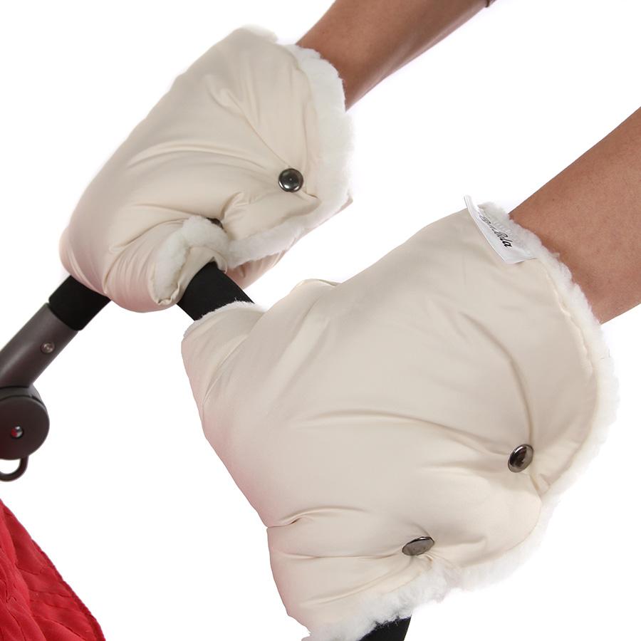 Муфта-варежки Bambola для коляски шерстяной мех плащевка Лайт Бежевый<br>