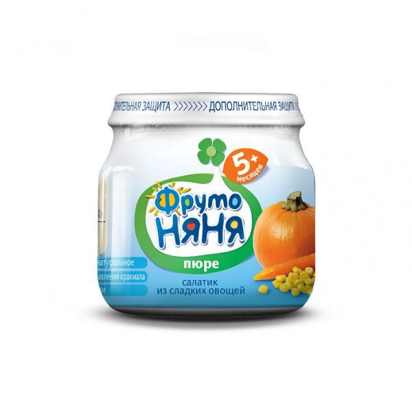 Пюре Фрутоняня овощное (без сахара) 80 гр Салатик из сладких овощей (с 5 мес)<br>