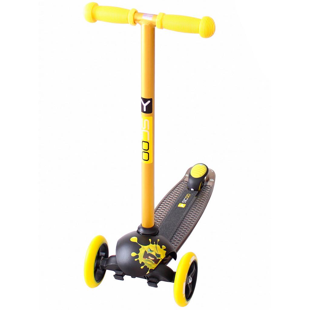 Самокат Y-SCOO RT Trio Diamond 120 Monsters 1 высота с блокировкой колес Yellow Zerro<br>