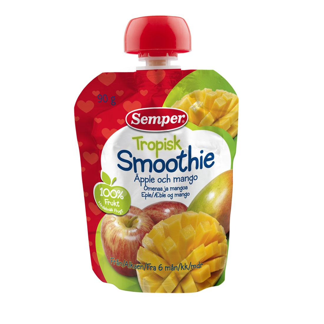Пюре Semper фруктовое 90 гр Яблоко и манго с витамином С (с 6 мес)<br>