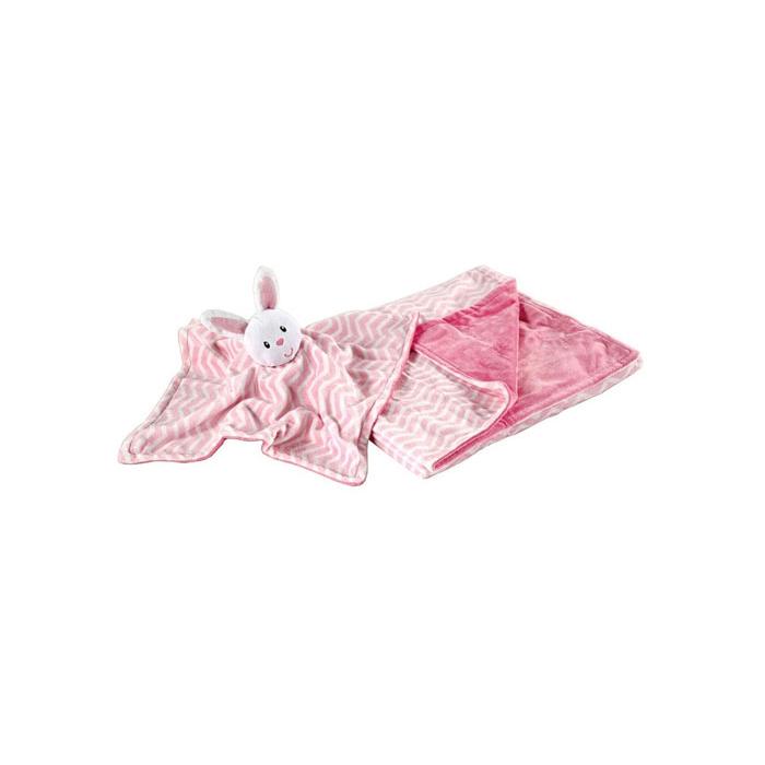 Комплект Hudson Baby плюшевый плед и мягкая игрушка, 2 пр., цвет розовый от 0 мес. (76х101 см)