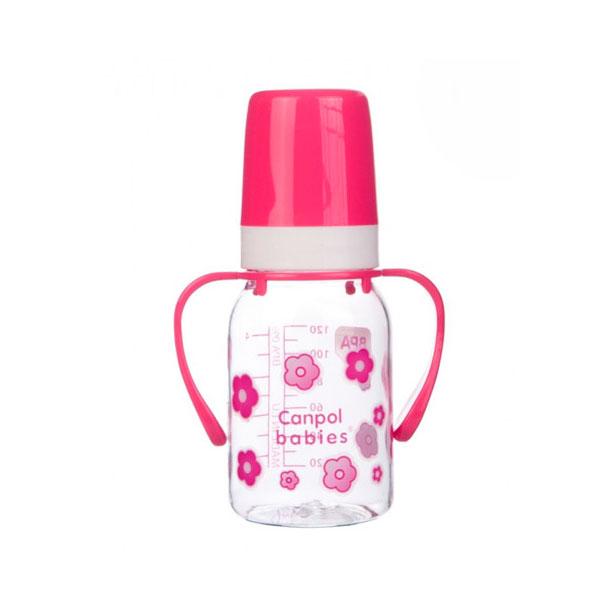 Бутылочка Canpol Babies с силиконовой соской с ручками розовая (с 3 мес)<br>