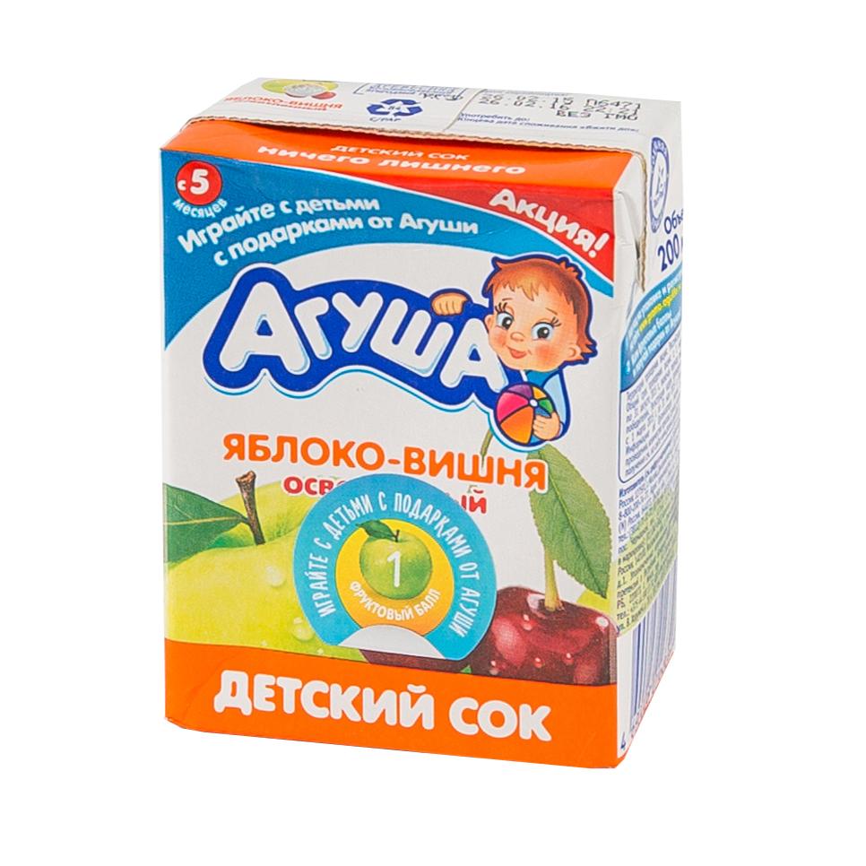 Сок Агуша 200 мл (тетрапак) Яблоко с вишней (с 6 мес)<br>