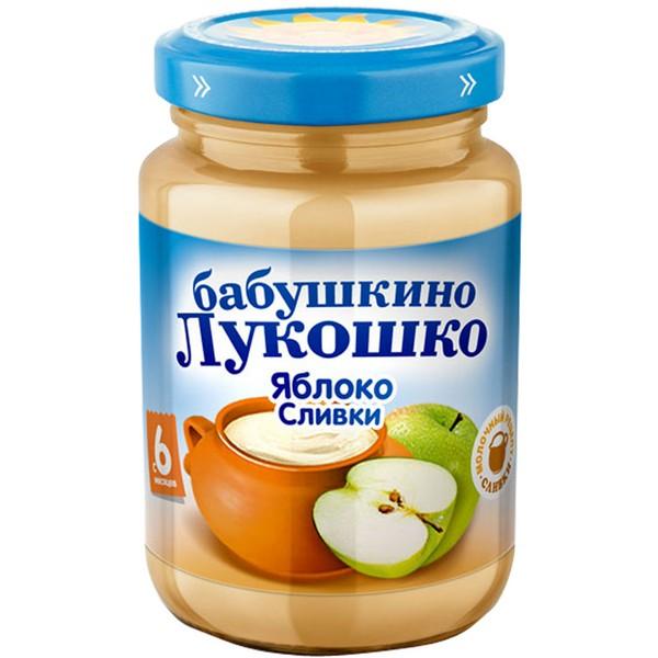 Пюре Бабушкино лукошко неженка 200 гр Яблоко со сливками (с 6 мес)<br>