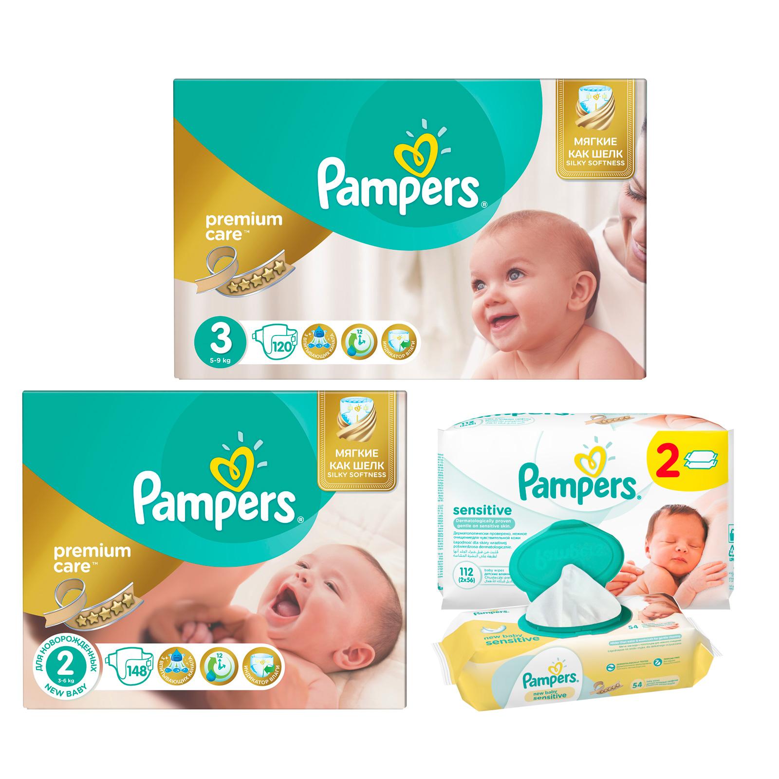 Набор Pampers №4 Подгузники Pampers Premium care 2-3 + салфетки<br>