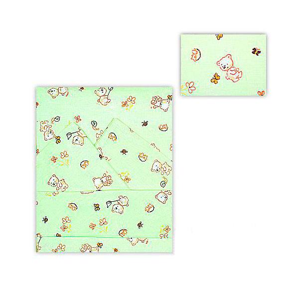 Комплект постельного белья Мотылек с простыней на резинке Зеленый<br>