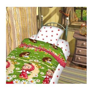 Комплект постельного белья детский 1.5 бязь Непоседа Маша и Медведь Большая стирка