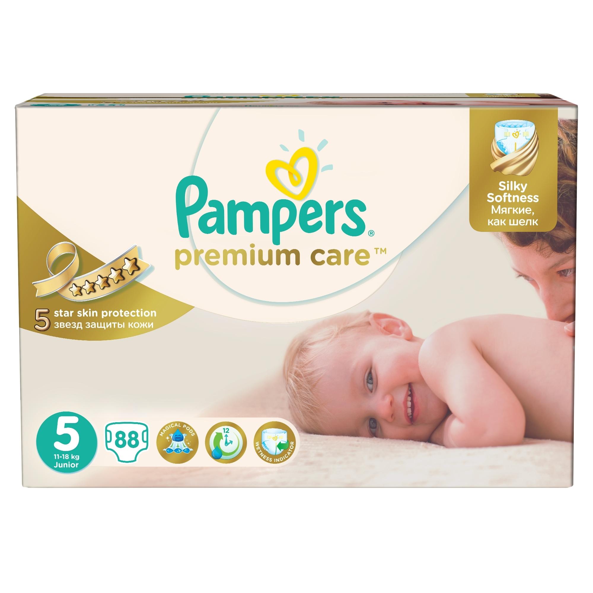 Подгузники Pampers Premium Care Junior 11-18 кг (88 шт) Размер 5<br>
