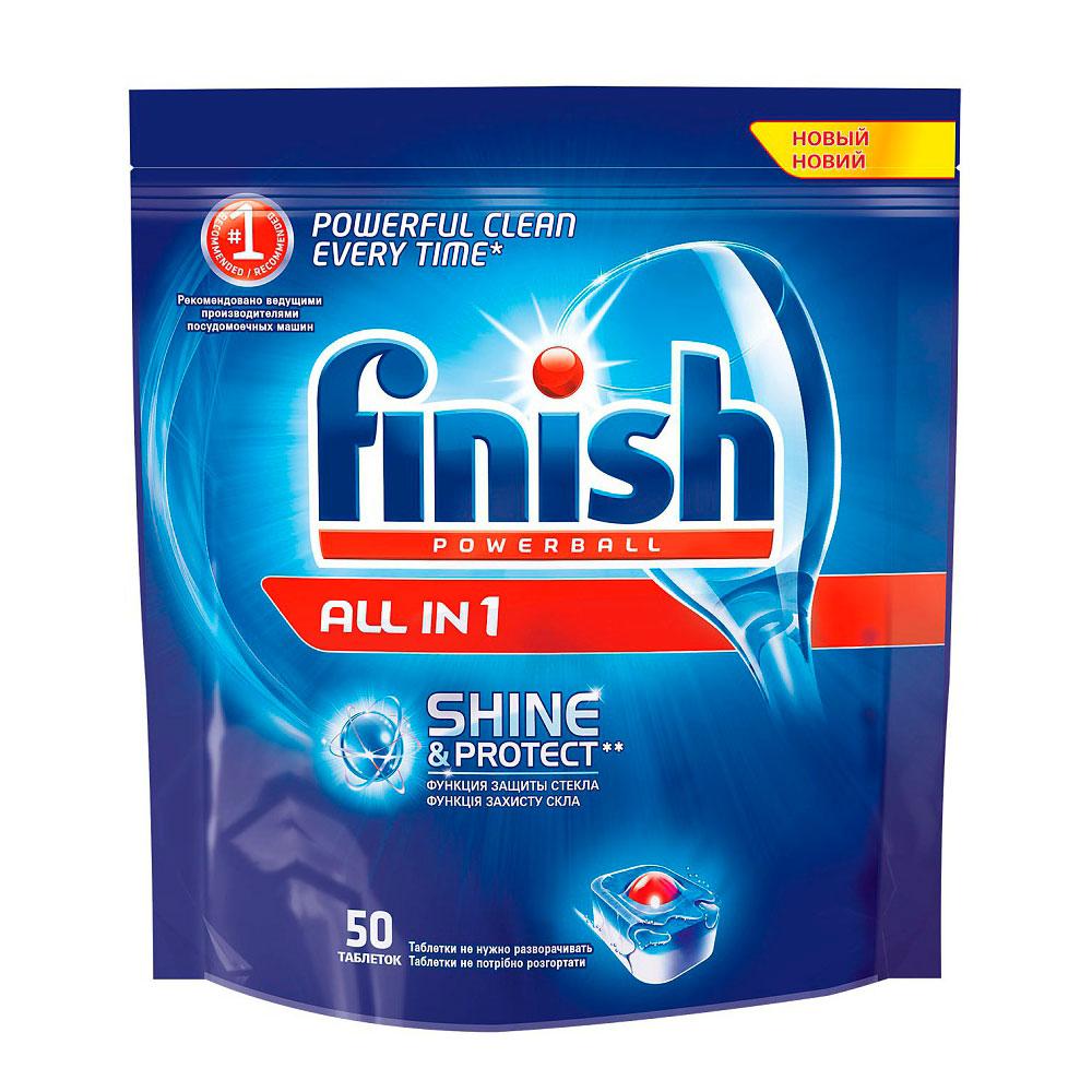Средство Finish Shine&amp;amp;Protect All in1  для посудомоечных машин таблетки 50 шт<br>