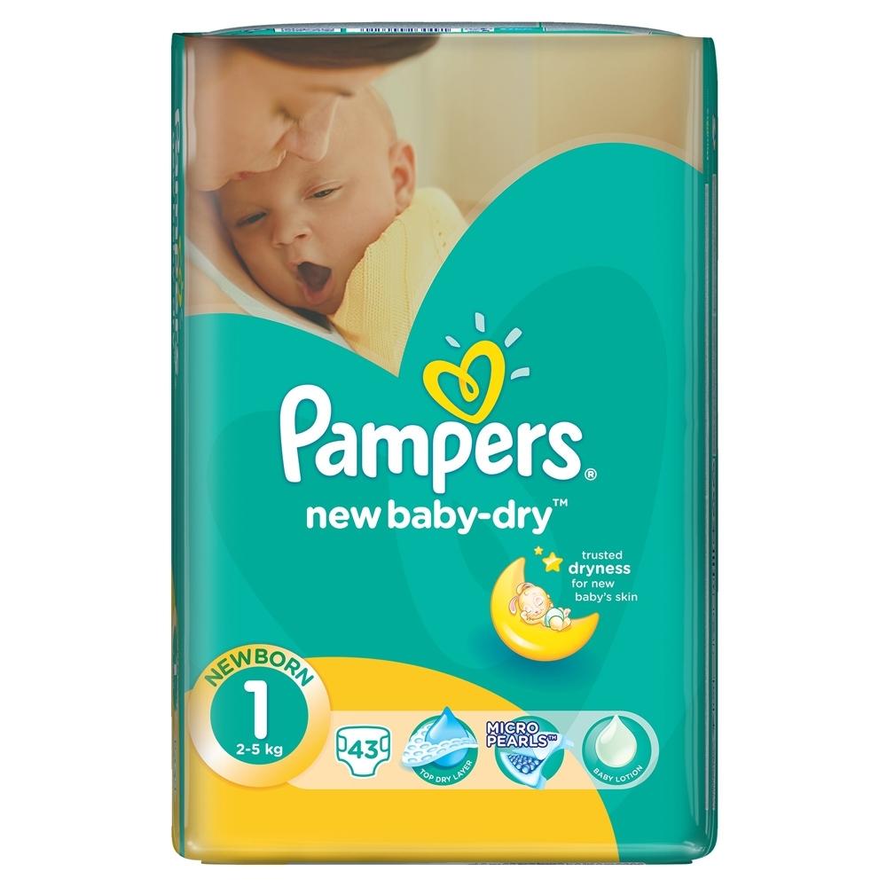 Подгузники Pampers New Baby Newborn 2-5 кг (43 шт) Размер 1