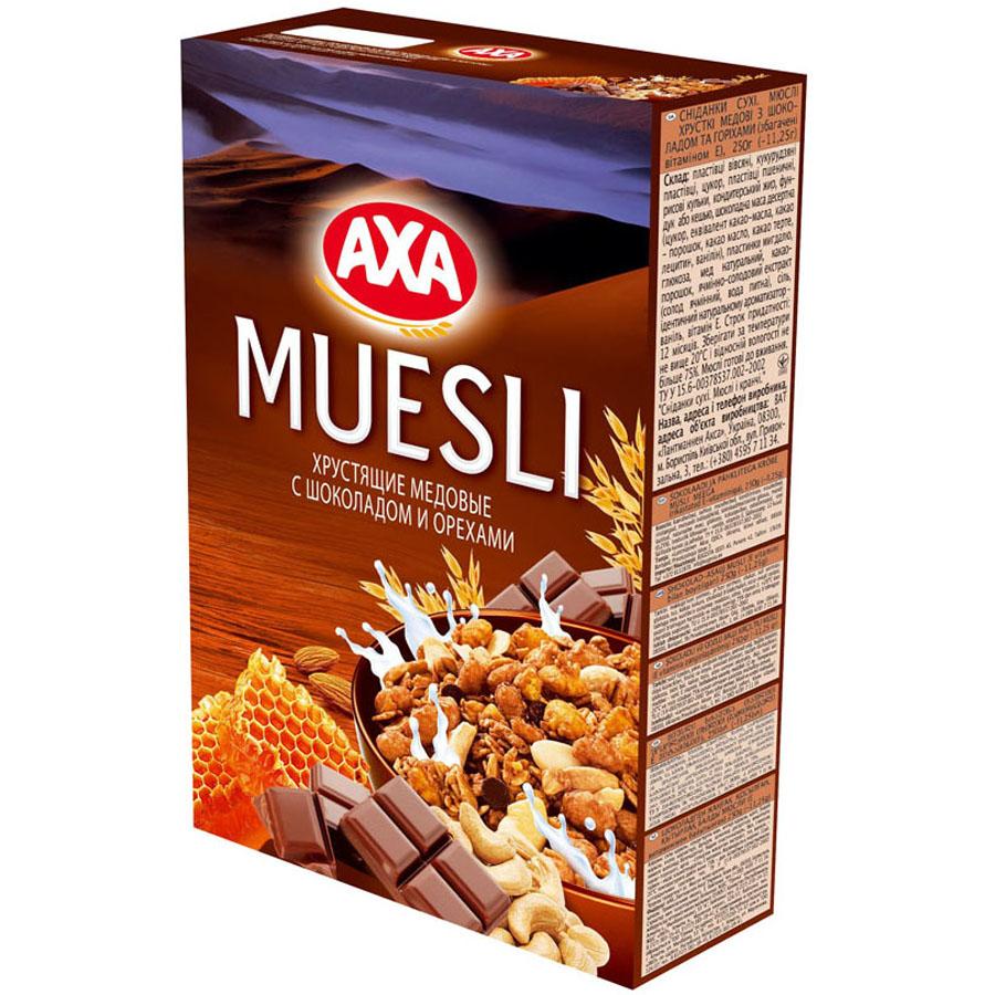 Мюсли АХА Мед с шоколадом и орехами (хрустящие)<br>