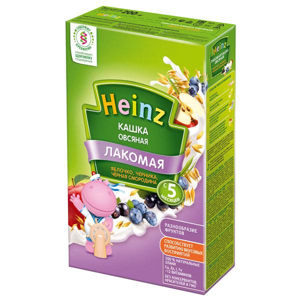 Каша Heinz Лакомая кашка молочная 200 гр Овсяная с яблоком черникой и черной смородиной (с 5 мес)<br>
