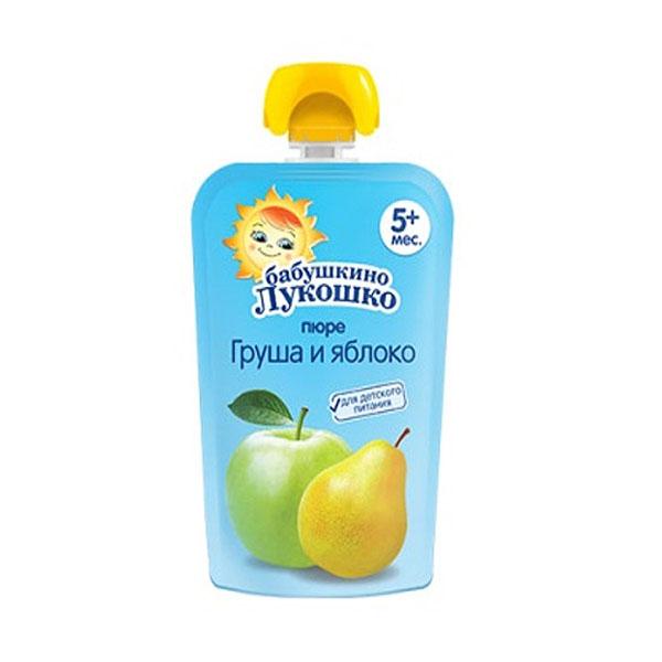 Пюре Бабушкино лукошко 90 гр Груша яблоко (с 5 мес)<br>