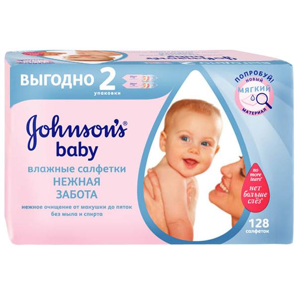 Салфетки влажные Johnson&amp;#039;s baby Нежная забота (запасной блок 64 шт х 2) 128 шт<br>