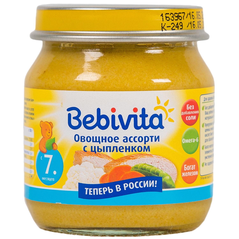 Пюре Bebivita мясное с овощами 100 гр Овощное ассорти с цыпленком (с 7 мес)<br>