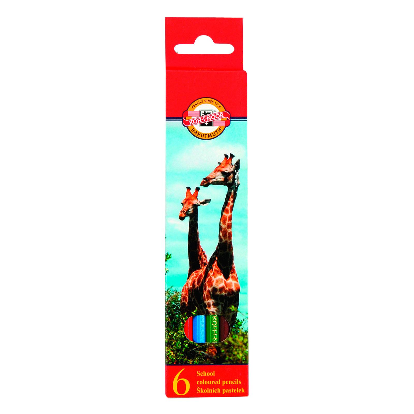 Набор карандашей цветных KOH-I-NOOR ЖИВОТНЫЕ 6 цветов<br>