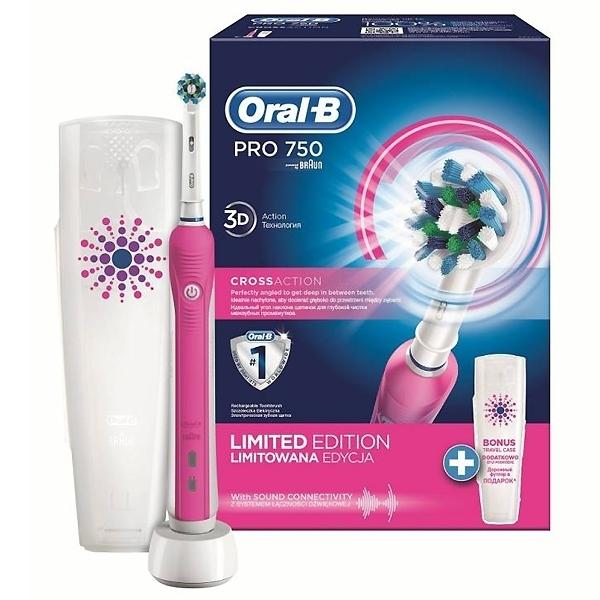 Зубная щетка электрическая Oral-B PRO 750 Cross Action розовая<br>