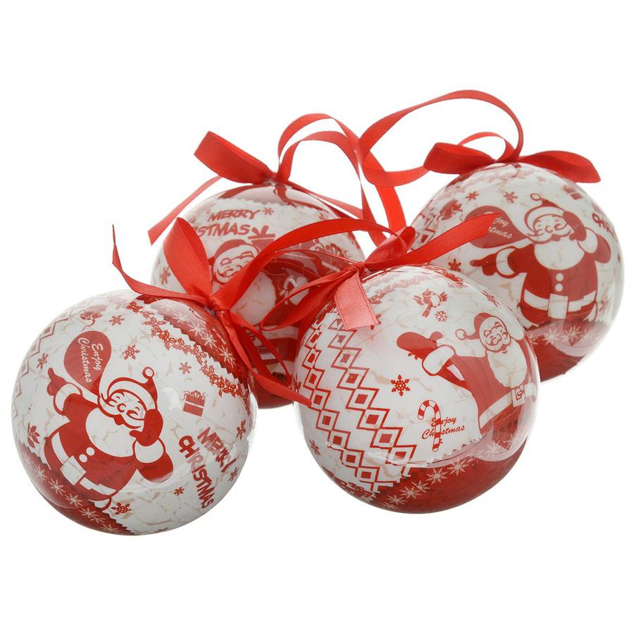 Набор шаров Winter Wings блестящих Веселый Дед Мороз 7.5 см 4 штуки в подарочной коробке<br>