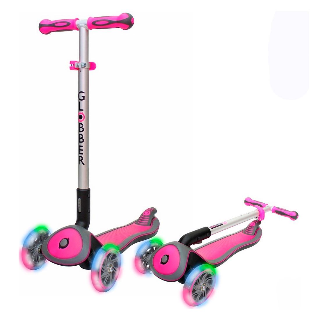 Самокат Globber Elite SL My free Fold up со светящимися колесами Rhodamine розовый<br>