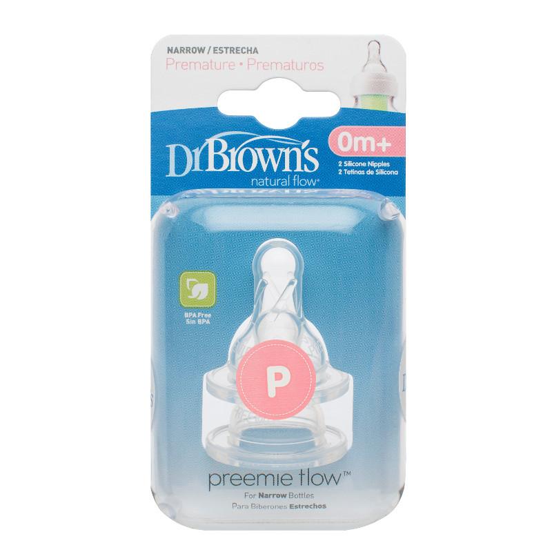 Соска Dr Brown&amp;#039;s 2 шт. Стандартное горлышко силиконовая для недоношенных детей<br>