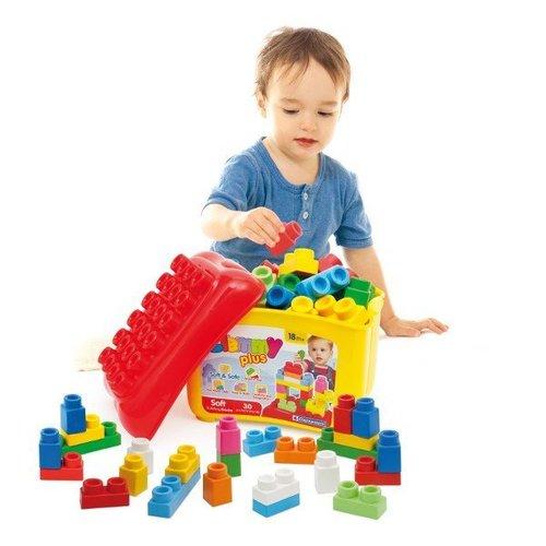 Мягкий конструктор Clemmy Plus Корзина: 1 корзина + 30 мягких кубиков<br>