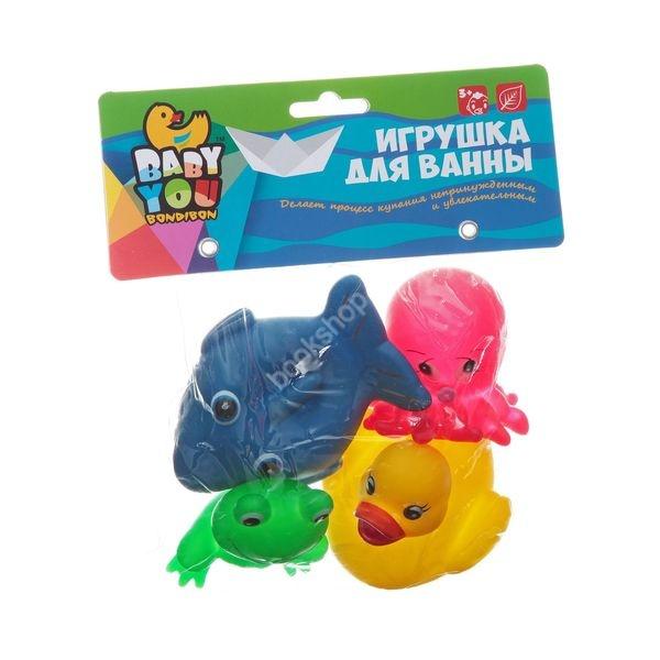Игрушки для ванной Bondibon Акула, Лягушка, Утка, Осьминог