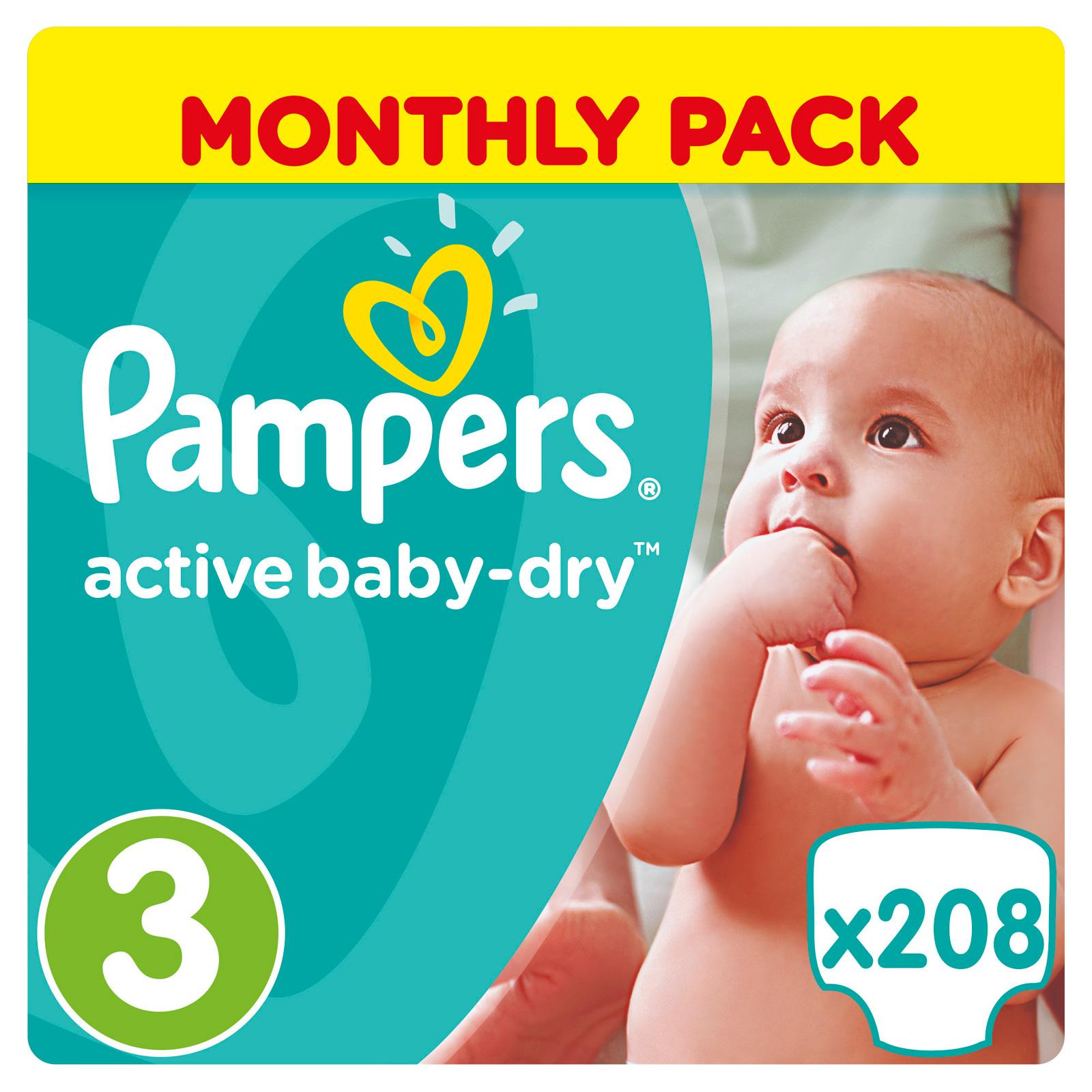 Подгузники Pampers Active Baby Midi 5-9 кг (208 шт) Размер 3<br>